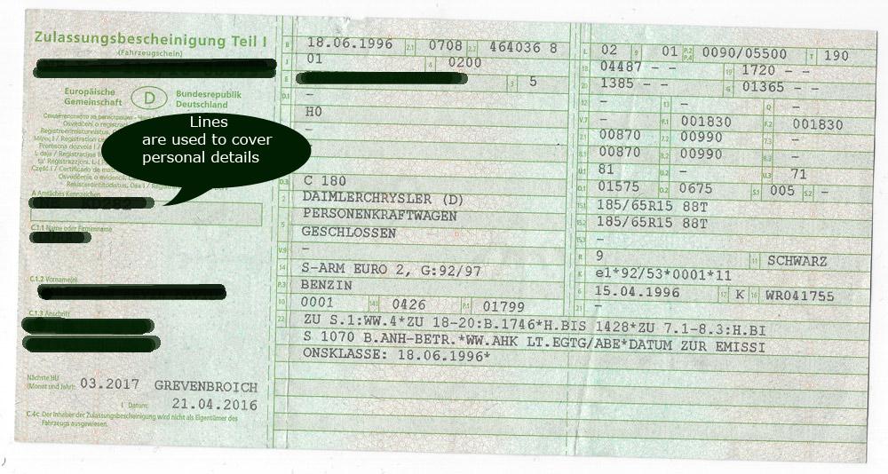 German vehicle document (BRIEF)